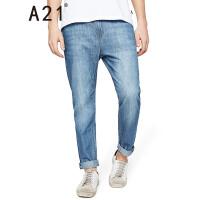 以纯线上品牌A21 2017夏装新款青年牛仔裤男低腰纯棉小直筒长裤男