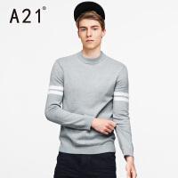 以纯A21男士半高领针织衫毛衣男 冬季圆领打底衫套头拼接长袖青年学生