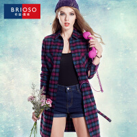 BRIOSO 2017女装春季新品韩版全棉薄款风衣 外套 女中长款系带修身风衣 大码女装
