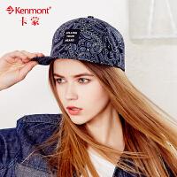 kenmont平沿帽女夏天帽子韩国潮休闲印花嘻哈帽鸭舌帽遮阳棒球帽3383