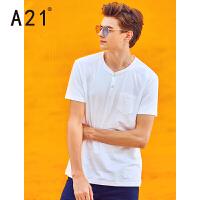以纯线上品牌a21 男士时尚短袖t恤潮男夏季修身男装新款欧美风休闲亨利领打底衫