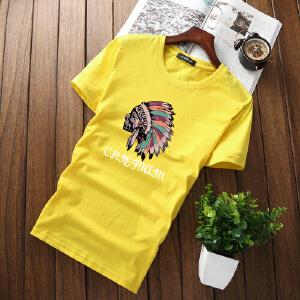 逸纯印品(EASZin)短袖T恤男 日韩系圆领印花体恤衫 中青年学生修身款