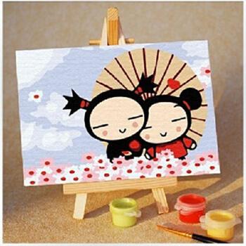 三原色 diy 数字水彩 油画 纯棉画布 儿童彩绘 中国娃娃