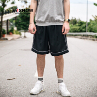 viishow2017夏装新品休闲短裤男运动短裤男士五分裤卫裤白条纹边