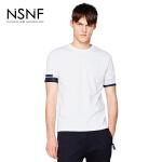 NSNF弹力螺纹袖口拼接白色短袖T恤 2017春夏新款