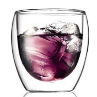 蛋形杯双层玻璃杯 咖啡啤酒杯 隔热透明 250毫升高硼硅