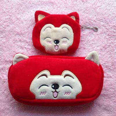 动物毛绒笔袋文具盒学生学习用品奖品礼物卡通笔袋送钱包·_狐狸微笑