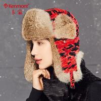 全棉兔毛皮草雷锋帽子冬天女士加厚护耳帽骑行东北帽卡蒙冬季棉帽 2597