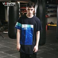 viishow夏装新款短袖T恤 欧美时尚印花短袖T恤男 撞色圆领T潮