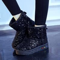2016冬季亮片雪地靴女底套筒短靴女鞋厚底加厚保暖棉鞋