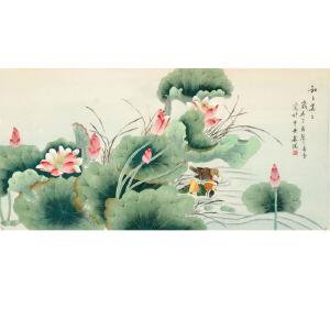 北京美协会员 凌雪《和和美美》136cmx68cm LX121