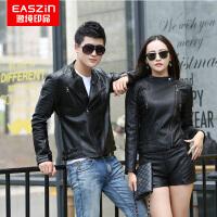逸纯印品(EASZin)情侣款皮衣 2017春季新款仿真皮皮衣 男女士韩版修身机车风皮夹克外套