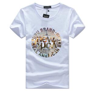 逸纯印品(EASZin)短袖t恤男 韩版修身复古字母印花圆领体恤衫