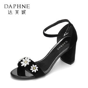 Daphne/达芙妮17新品舒适粗跟宴会高跟鞋 水钻花朵绒面一字带凉鞋