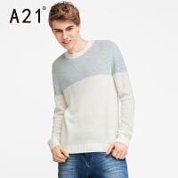 以纯A21男士半高领拼接长袖毛衣男保暖线衣青年针织衫学生冬潮流宽松