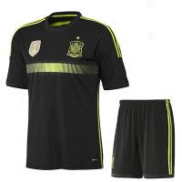 世界杯西班牙客场黑色足球服套装 短袖足球训练服套装户外休闲服饰运动套装