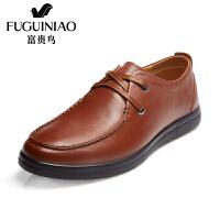 富贵鸟 新款头层牛皮圆头平底男士皮鞋单鞋系带商务休闲鞋