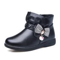 hellokitty童鞋女童皮靴新款短靴公主鞋大棉保暖加绒儿童鞋