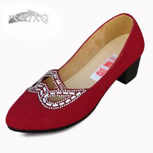 欣清春季新款老北京布鞋女鞋凉鞋 时尚坡跟女鞋水钻中跟休闲浅口单鞋女