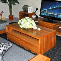 尚满 浅胡桃实木边框系列客厅家具茶几 现代中式时尚客厅茶桌 带储物抽屉柜茶几边桌