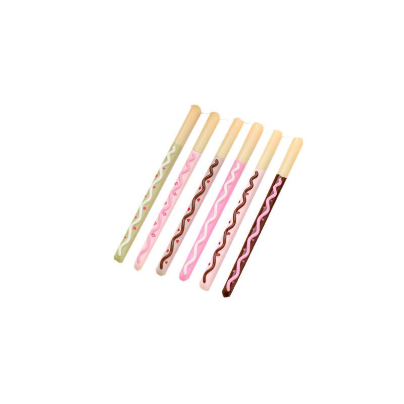 (12支装)韩国文具 可爱 创意 造型逼真巧克力棒中性笔水笔 饼干形状