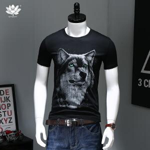 EASZin逸纯印品 短袖t恤 男士韩版圆领狼头印花体恤衫 直筒版