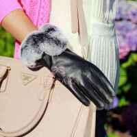 女士羊皮真皮手套 触摸屏獭兔毛中长冬季出口保暖加厚加绒皮毛一体 情人节送女朋友礼物