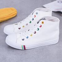 新款女鞋PU皮质白色帆布鞋女韩版潮高帮系带学生平跟板鞋休闲鞋子