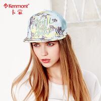 kenmont帽子女夏天时尚嘻哈帽韩版潮遮阳透气字母平沿帽鸭舌帽3381