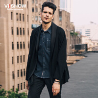 viishow秋冬新款夹克 时尚潮流个性夹克衫 黑色短款外套男 J142853