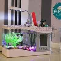 USB办公桌迷你鱼缸    充电小金鱼缸新款带万年历闹钟