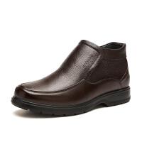 富贵鸟男鞋高帮 加绒保暖棉鞋男士商务休闲高帮皮鞋