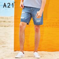 以纯线上品牌a21 夏季牛仔裤男裤子男士潮破洞牛仔短裤五分裤 青年学生休闲短裤