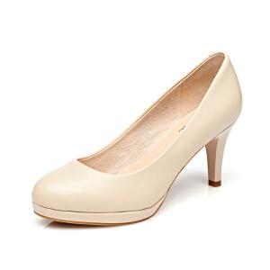 Daphne/达芙妮春季新款女鞋 高跟圆头牛皮通勤单鞋