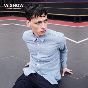 viishow春装新款长袖衬衫 欧美时尚长袖衬衫男 浅色百搭衬衣