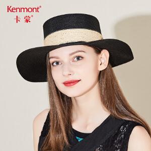 卡蒙沙滩帽子女夏天海边度假平顶草帽手工编织欧美风时尚遮阳潮帽3316