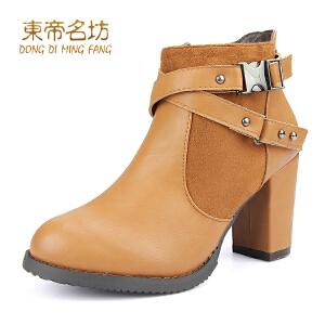 东帝名坊新款女靴 粗高跟短靴 欧美绒毛内里个性侧拉链靴子32813
