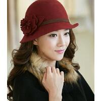 冬天时尚女秋冬韩版潮毛呢帽羊毛毡帽复古英伦圆顶礼帽