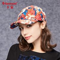 卡蒙帽子女冬天可爱棒球帽韩国潮纯棉嘻哈牡丹花图案时尚鸭舌帽 2519