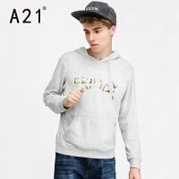 以纯A21春季新款男装连帽套头长袖卫衣 个性字母时尚印花青年男士衣服