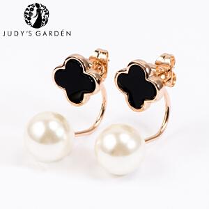【茱蒂的花园】新款可拆戴经典黑色四叶草仿珍珠前后款式耳钉电镀真金K金玫瑰金女款女式时尚款送女友女生生日礼