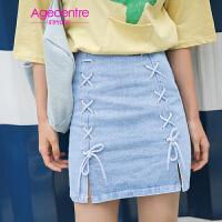 【两件5折】AGECENTRE时代中心 2017春女新款潮夏装韩版系带牛仔裙半身裙 显瘦a字裙