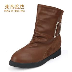 东帝名坊 新款女靴子 韩版骑士靴机车靴 保暖时尚中筒女靴32836
