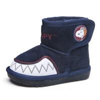 史努比童鞋儿童雪地靴冬季男童靴子加绒加厚童鞋冬款棉鞋宝宝短靴
