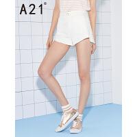 以纯线上品牌a21 2017夏装新款休闲短裤女 时尚不规则裤口高腰短裤
