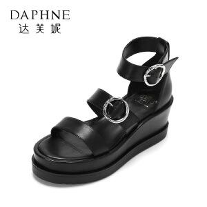Daphne/达芙妮2017王文也合作款舒适厚底女鞋 简约扣饰学院风凉鞋