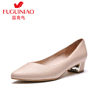 富贵鸟女鞋 年春季新品头层牛皮尖头粗跟女浅口单鞋套脚鞋子