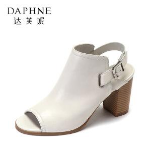 Daphne/达芙妮2017夏新舒适真皮鱼嘴女鞋 百搭皮带扣粗跟高跟鞋