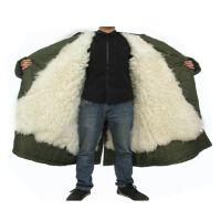高寒地区防寒羊毛大衣 冬季温区士兵站岗皮大衣羊皮军大衣男款真皮毛一体加厚保暖绿大衣防寒大衣