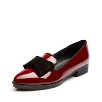 富贵鸟女单鞋时尚头层牛漆皮女鞋 蝴蝶结粗跟舒适套脚女士单鞋尖头鞋